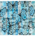 checkered pattern with blue butterflies vector image