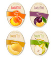 set of labels of berries and fruit plum vector image
