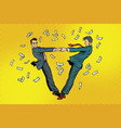 two businessmen happily dancing in a whirlwind of vector image