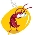 scared cockroach insect cartoon vector image