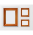 Set classic wooden frames on white background vector image