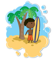 African-American boy with surfboard vector image vector image
