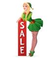 Pretty girl in Christmas elf costume sale banner vector image