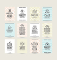 Set of poster templates for bakery cafe restaurant vector image