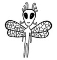 fairy tales coloring page with dragonfly alien vector image