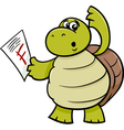 turtle with f mark cartoon vector image vector image
