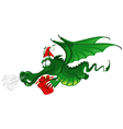 cheerful dragon in santas hat vector image