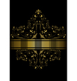 Dotted golden ribbon framed pattern of golden curl vector image