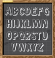 Hand drawn alphabet in white chalk style vector image