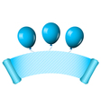 blue scroll with balloons vector image vector image