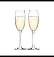 Champagne flutes Two narrow glasses vector image