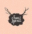 Free Spirit Hipster Vintage Stylized Lettering on vector image
