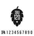 IBU index logo Hop pine black silhouette with vector image