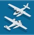 isometric plane hydro aircraft air transportation vector image