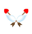 valentines day emblem cupid logo arrow heart and vector image
