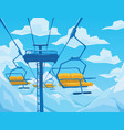 winter scene with ski lift mountains landscape vector image