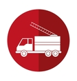 truck fire rescue urgency attention red circle vector image