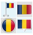 Chad flag - sticker button label flagstaff vector image