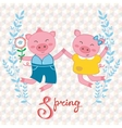 Happy pigs couple jumping vector image