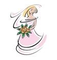 Bride silhouette in pink wedding dress vector image vector image