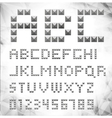 silver pixel font with stud vector image