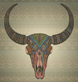Decorative indian bull scull in tribal style on vector image