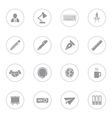 gray flat icon set 8 with circle frame vector image