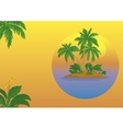 Island with palm and sun vector image