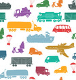 Sketches of cargo delivery seamless vector image