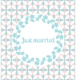 Just married wedding card with floral frame vector image