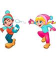 Children Snow vector image