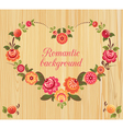 Floral frame in the shape of heart wood background vector image