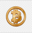 golden bitcoin trendy 3d style icon vector image