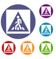 pedestrian road sign icons set vector image