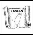 scroll with a map of taiwan vector image
