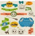 Set of vintage deign elements about Halloween vector image