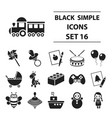 toys set icons in black style big collection toys vector image