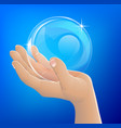 hand holding bubble or glass ball vector image