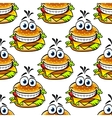 Seamless cartoon cheeseburger pattern vector image