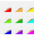Colored Set of Curled White Paper Corners vector image