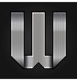 Letter metal chrome ribbon - W vector image vector image