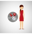 character red dress navigation elements concept vector image