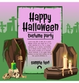 Coffins and candles in an abandoned graveyard vector image