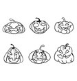 halloween pumpkin sketchy outline icons vector image