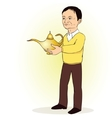 Man person with Lamp of Aladdin vector image