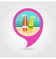Surfboard pin map icon Summer Vacation vector image