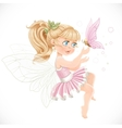 Sweet girl fairy in a pink tutu holding a large vector image