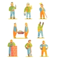 Builder Professionals At Construction Site Set vector image