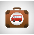 concept travel suitcase vintage with bus design vector image