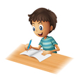 A boy writing vector image vector image
